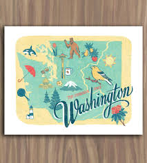 Map Of State Of Washington by Washington State Art Print Art Prints U0026 Posters Anagram Press