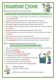 household chores worksheet free esl printable worksheets made by