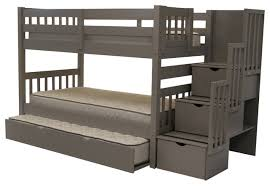 Bedz King Bunk Beds Twin Over Twin Stairway Gray Trundle - King bunk beds