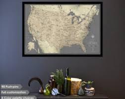 map usa framed us travel map etsy