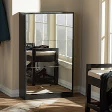 Offers On Laminate Flooring Rectangle Black Wooden Shoe Storage Cabinet With Mirror Doors On