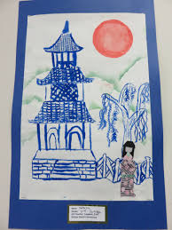3rd grade japanese pagoda painting with origami doll lesson by