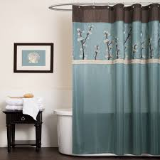 gorgeous blue patterned free standing bath shower curtain mixed