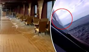 carnival paradise cruise ship sinking carnival cruise ship suddenly tilts on its side at sea in horrifying