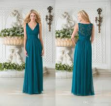 2016 vintage v neck teal green chiffon plus size bridesmaids