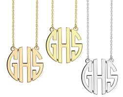 three initial monogram necklace 3 initial necklace etsy