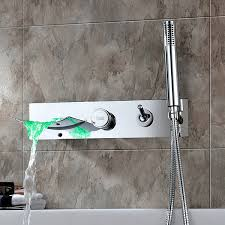 Tub Faucet Wall Mount Finish Color Changing Wall Mount Tub Faucet With Hand Shower At