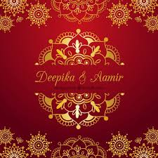 indian wedding card design indian wedding card on a background vector free