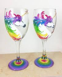 wine glass gift unicorn wine glasses unicorn lover gift gold unicorn horn