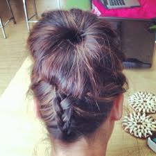 flip hair upsidedown and cut sock bun done right french braid hair upside down put into high