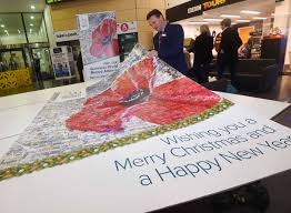 this giant christmas card has appeared at mailbox as part of