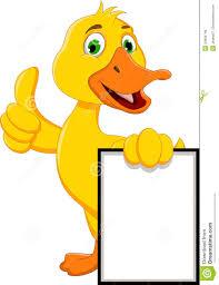 funny duck cartoon holding blank sign royalty free stock photos