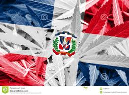 Domenican Flag Dominican Republic Flag On Cannabis Background Drug Policy