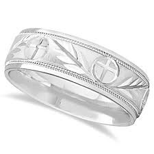 christian wedding bands men s christian leaf and cross wedding band 14k white gold 7mm