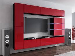 Wohnzimmer Schwarz Rot Wohnwand Shine Hochglanz Led Concept Soggiorno Wand Hängewand