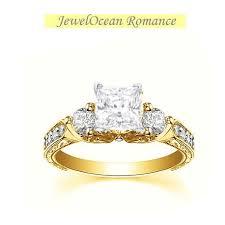 gold engagment rings vintage 1 carat princess cut engagement ring on