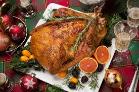 roasted turkey with fresh fruits flutes of champagne christmas