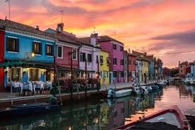 Burano Italy Postcard Sunset Over Burano Island And Venice Italy Chasing