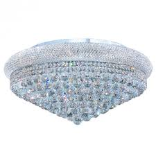 Chrome Flush Mount Ceiling Light by Empire Collection 15 Light Chrome Finish And Clear Crystal Flush