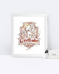 gryffindor crest watercolor printable gryffindor crest wall