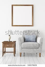 Wooden Frame Armchair Mock Poster Comfortable Sofa 3d Illustration Stock Illustration