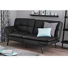 leather sleeper sofa couch loveseat black futon convertible chair