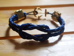 leather braided anchor bracelet images Blue round braid leather supplies wholesale diy jewelry rope jpg