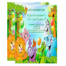 Jungle Birthday Card Safari 1st Birthday Invitations Announcements Zazzle Co Uk