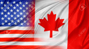 Canada Flag Colors American And Canadian Flags Together Stock Photo Picture And