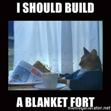 Blanket Fort Meme - i should build a blanket fort i should buy a boat cat meme