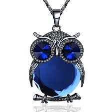 vintage crystal pendant necklace images Vintage crystal owl totem long rhrinestone pendant necklace jpg