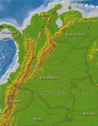 Topographical Map Of South America by Colombia Physical Map