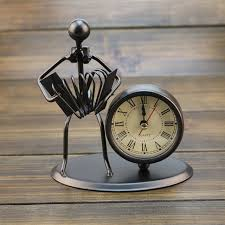 handmade metal crafts musician clock wrought iron play musical