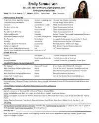 Professional Acting Resume Template Dancer Resume Template How To Write A Dance Resume Samples Of