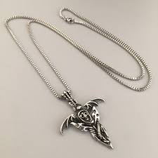 snake jewelry necklace images Vintage necklace jewelry bat wings charm pendant skull head snake jpg
