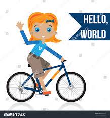 hello ribbon girl bike hello ribbon stock vector 408456610