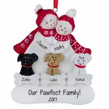 snow with 3 pets scarves ornament personalized