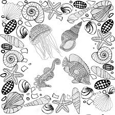 stylized composition of tropical fish seahorse jellyfish shell