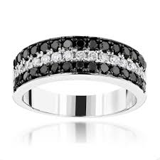 black diamond wedding band unique 3 row white black diamond wedding band 1 35ct 10k gold