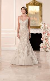 fit and flare wedding dress with illusion neckline stella york