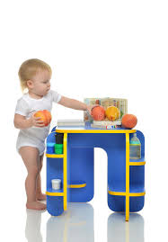 baby standing table toy infant child baby kid happy standing and taking fruits p