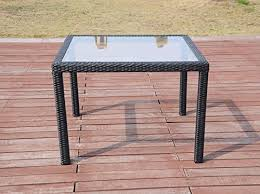 wicker dining table with glass top patio resin outdoor wicker square 39 5 inches dining table w glass