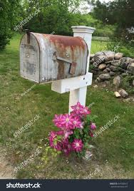 vintage rusty mailbox post pink stock photo 619420310