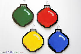 we made some diy 8 bit ornaments our home