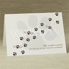 personalized pet memorial sympathy card pawprints to heaven