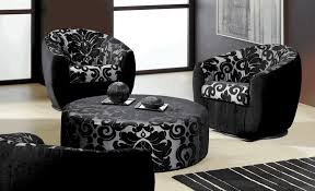 Printed Living Room Chairs Design Ideas Black Damask Printed Ottoman Coffee Table Ideas For Contemporary
