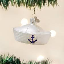 world sailor hat glass blown ornament