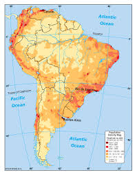 Map Equator South America by South America Population Density Map Southamerica