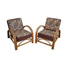 oversized mcguire bamboo lounge chairs set of 4 chairish image