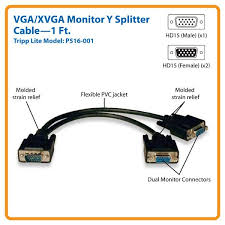 tripp lite vga monitor y splitter cable hd15 m2xf 1 ft by office